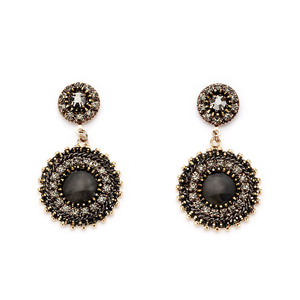 [밀튼아티카]Queen of the palace antique black mix Earrings