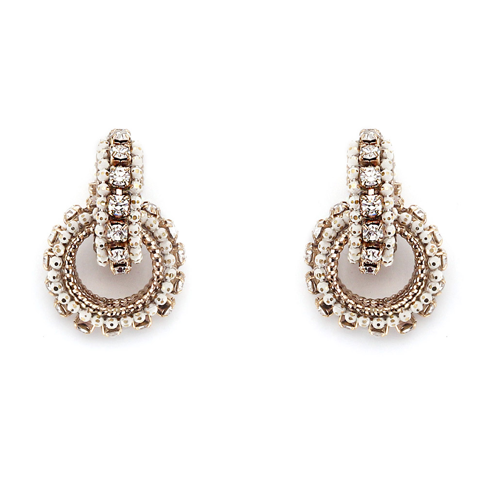 [밀튼아티카]Queen of the palace antique white round point Earrings